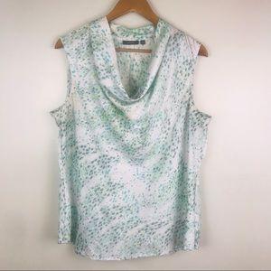 APT. 9 Drape Neck sleeveless Blouse white abstract